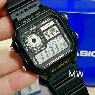 Casio AE-1200WH-1A Resin Digital World Time  Men's 100M Sports Alarms Watch