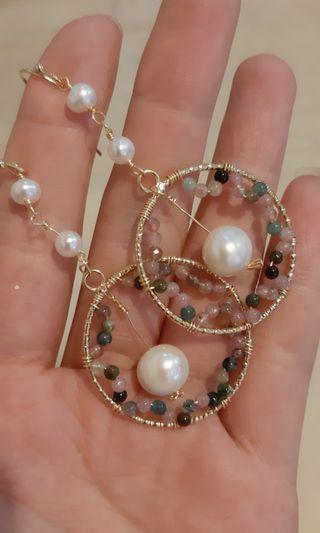 天然水晶耳環