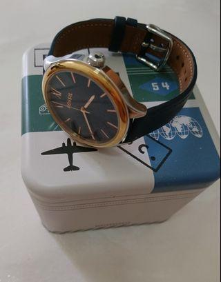 Fossil Leather Strap (in Blue - Gold Color) 36mm Diameter BQ3309 (Authentic)