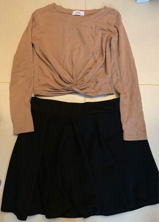 啡杏色上衣連黑裙褲