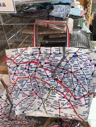 全新 購自日本 巴黎地圖尼龍手挽袋 Paris map nylon shopping bag