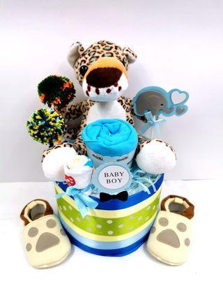 Diaper Cake Safari Baby Boy Hamper