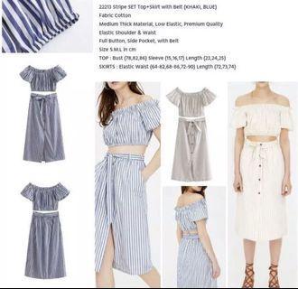 Stripe set top&bottom blue - look a like zara