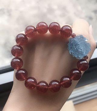 Good grade strawberry quartz with aquamarine flower