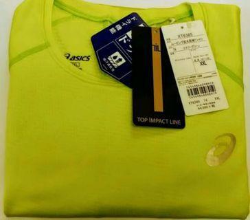 全新 購自日本 Asics XT6385 營光黄長袖抓毛跑步速汗T恤 男裝 (Size XXL) 原價 $4500 円