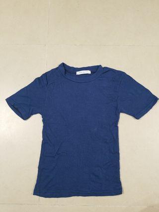 韓製藍色棉質tshirt