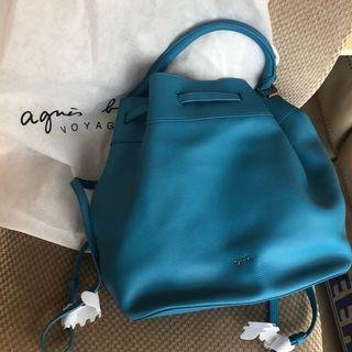 Agnes b Authentic blue backpack handback genuine cow leather 藍色水桶袋 背囊 真牛皮 Agnès b