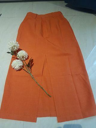 ATS the label orange skirt with front slit