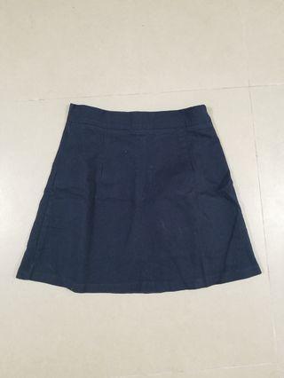 韓製深藍扯布半截裙