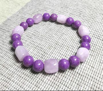 天然原礦紫鋰輝石+紫雲母手鏈