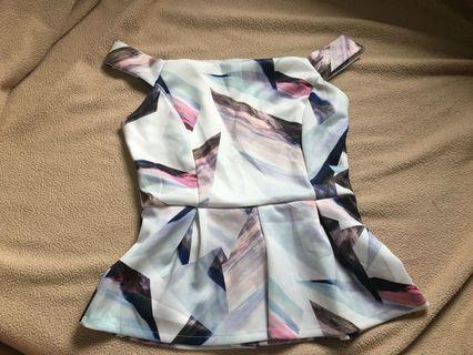 Off shoulder prism babydoll top
