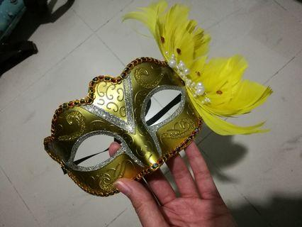 Golden Masquerade with Feathers