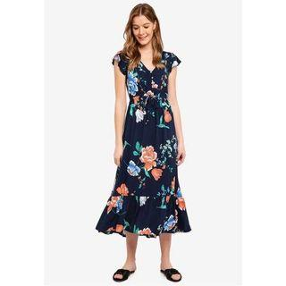 Cotton On Penny Midnight Woven Flora V Neck Maxi Dress