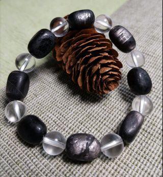 天然原礦黑銀線石+白水晶手鏈