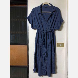 【二手】麻料收腰連身裙