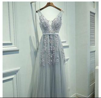 Wedding Evening Gown- Mesh Lace Tulle Lavender Grey (Worn once for Shoot Only)