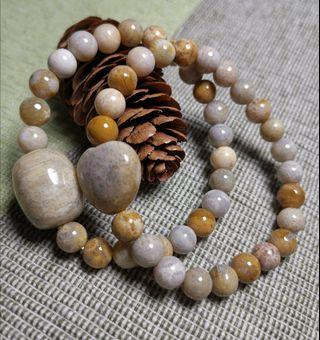 天然珊瑚化石(珊瑚玉) 手鏈