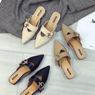 尖頭平底鞋 粗跟 單鞋 涼鞋 舒服 謝師宴鞋