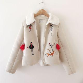 Girls embroidered shearling jacket size 8-9
