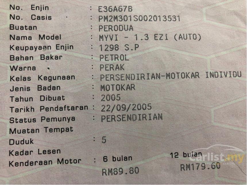 2005 Perodua Myvi 1.3 EZi (A) One Owner Kenwood Player.    http://wasap.my/601110315793/MyviEzi2005