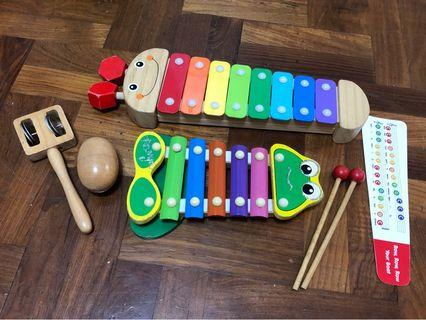 Melissa and Doug Wooden caterpillar Xylophone, frog wooden xylophone, shaker egg and jingle bell