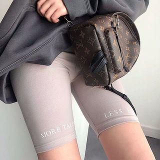 PREORDER Wording biker shorts - light grey beige