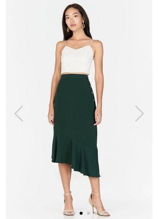The closet lover tcl cassel asymmetrical midi skirt in forest (size S)