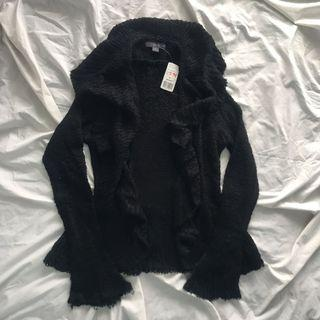 Forever 21 Knit Black Ruffle Cardigan