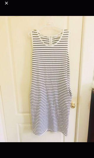 NET黑白條紋長版洋裝
