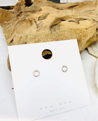韓國水鑽環形耳環
