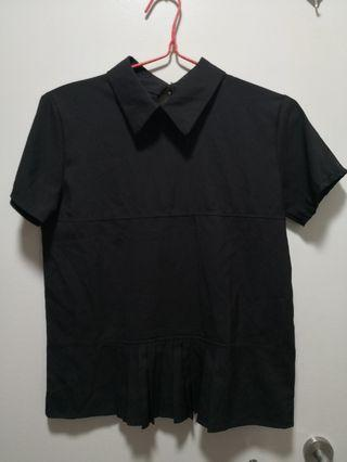 Black collar top with pleat details