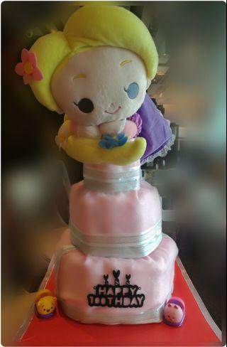 迪士尼長髮公主三層尿片蛋糕