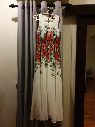 Full Length Floor Floral White Dress Red Dinner Formal