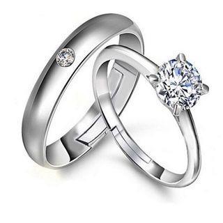 925 silver classic diamond couple ring