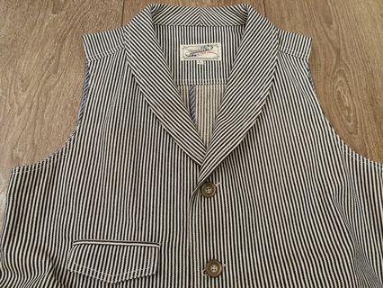 Luddite strips denim vest size L