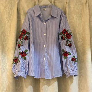 Rose Embroidered Blue Stripe Long Sleeve Blouse Top Formal