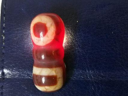 Heaven and Earth Jin Gan Zhu Dzi Agate Dragon Scale Bead