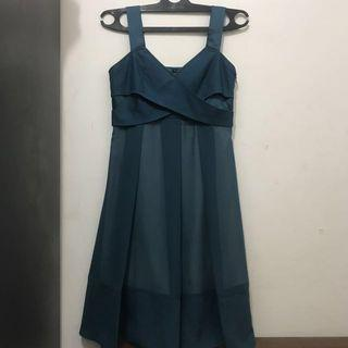 Dress Chiffon Turquoise Dark Blue