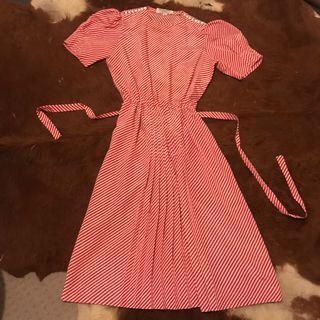 Albert Nipon vintage stripped flapper dress 1950's