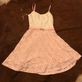 Strawberry champagne lace pink and cream adjustable pretty dress