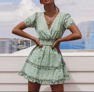 PO - Floral print cotton green ruffle ruched boho dress