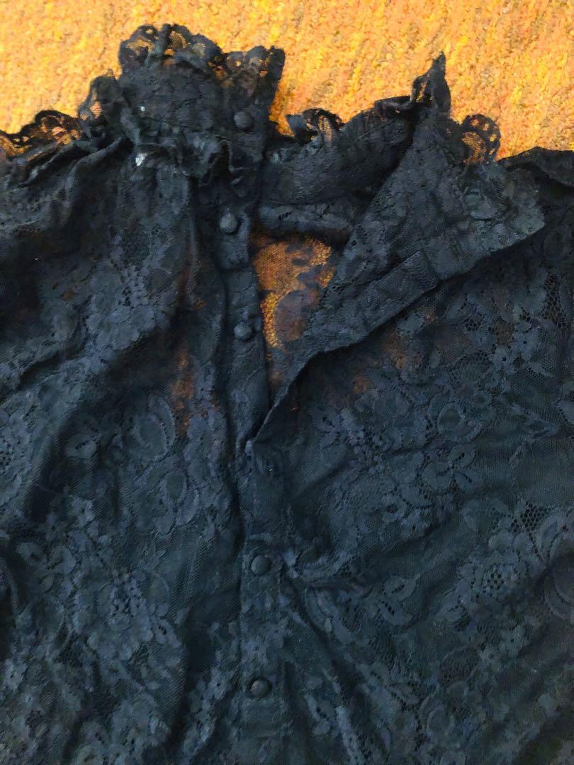 Black lace ruffle high neck blouse with insert sz 6