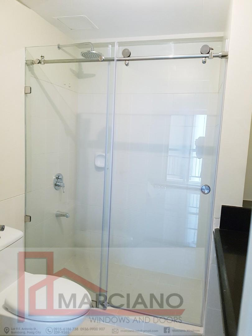 Frameless Sliding Shower Enclosure Tempered Glass Home Furniture Furniture Fixtures Bath Fixtures On Carousell