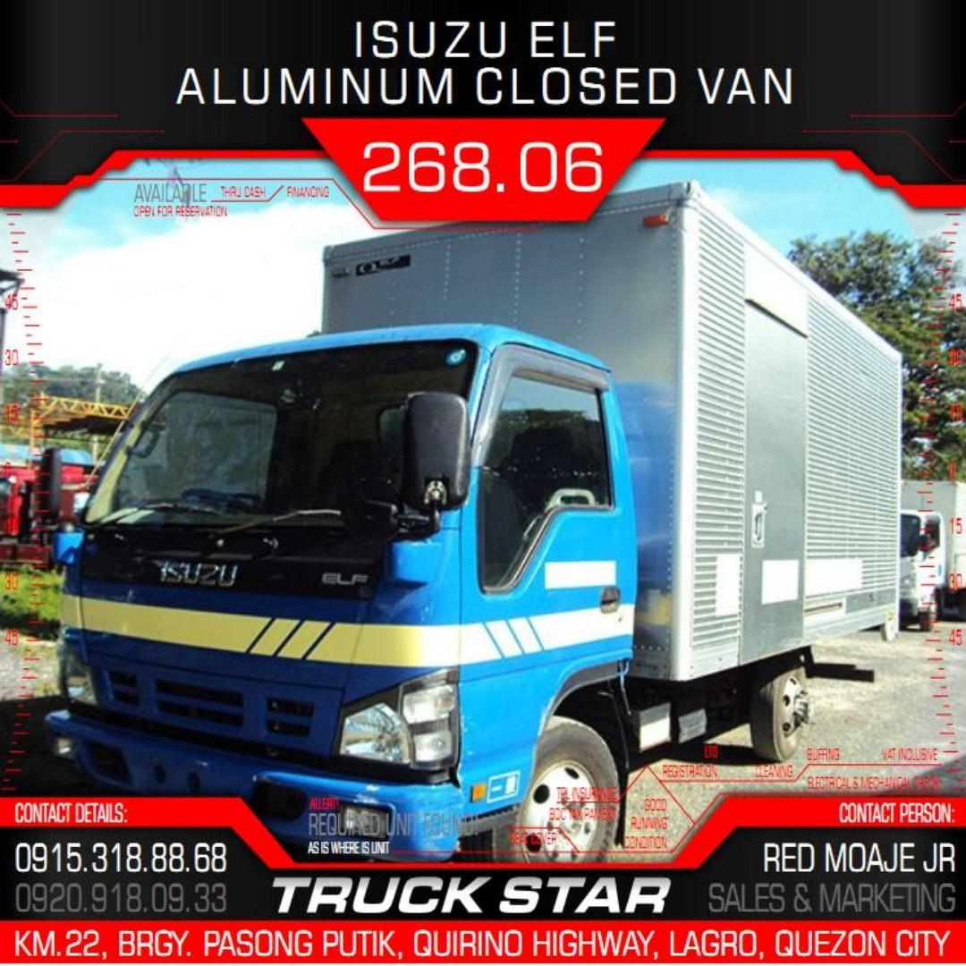 Isuzu Elf Aluminum Closed Van 4JJ1 Engine 14Footer Truck For Sale on