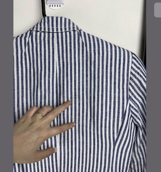 J Crew 0/XXS/XS blue white stripe Classic Linen Schoolboy blazer preppy RARE