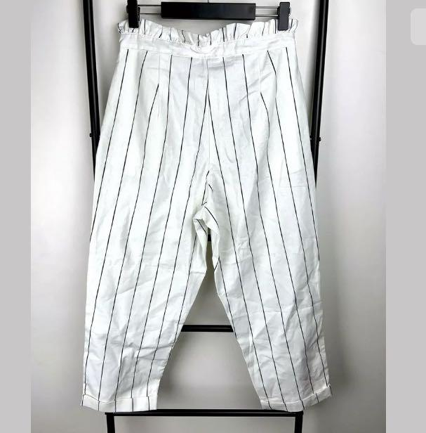 NWT Into M white basic stripe highwaist pants capri trousers casual preppy