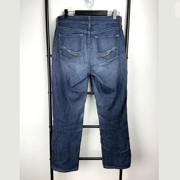 NYDJ sz 4/AU10-12 blue washed denim jeans straight leg casual cowboy