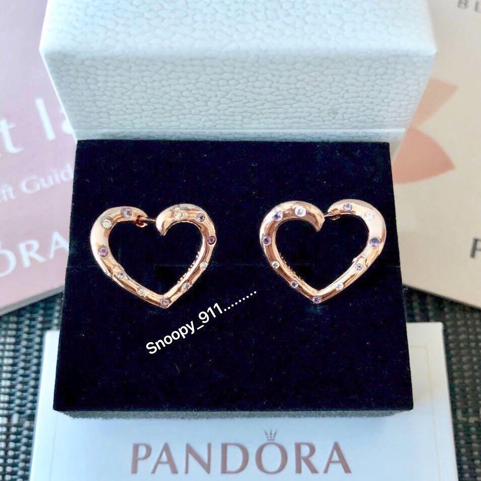 6b83163812bc5 Pandora Rose Bright Hearts Hoop Earrings