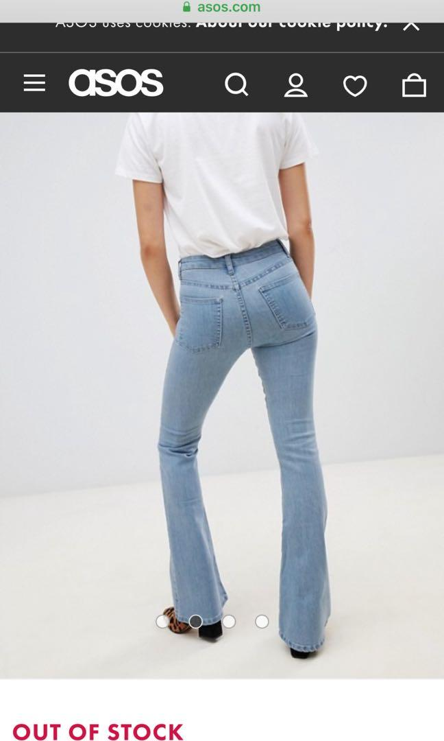 Petite light blue flare jeans xxs