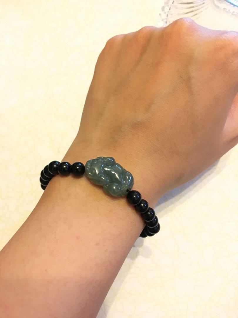 Real jade obsidian bracelet 天然翡翠黑曜石手鏈
